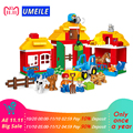 123Pcs Happy Farm Animal Educational Diy Set Building Blocks Zoo Set Kids Toys Brick Compatible With Duplo 10525 Gift