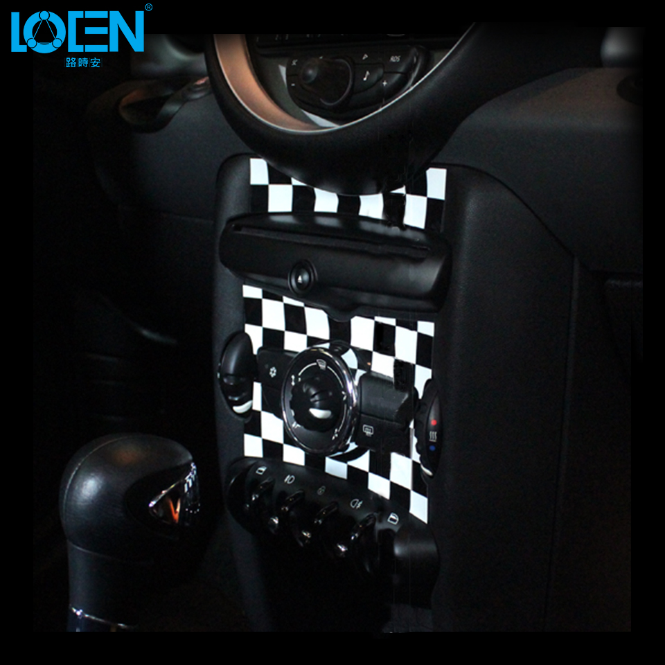 Car Styling Auto Hand-Shift Center Console Stickers Dashboard Decoration Sticker Grid UK Flag For BMW MINI COOPER