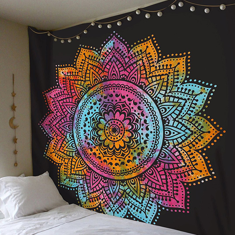 Large 200x150cm Mandala Indian Tapestry Wall Hanging Bohemian Beach Mat Polyester Blanket Yoga Mat Home Bedroom Art Carpet in Tapestry from Home Garden