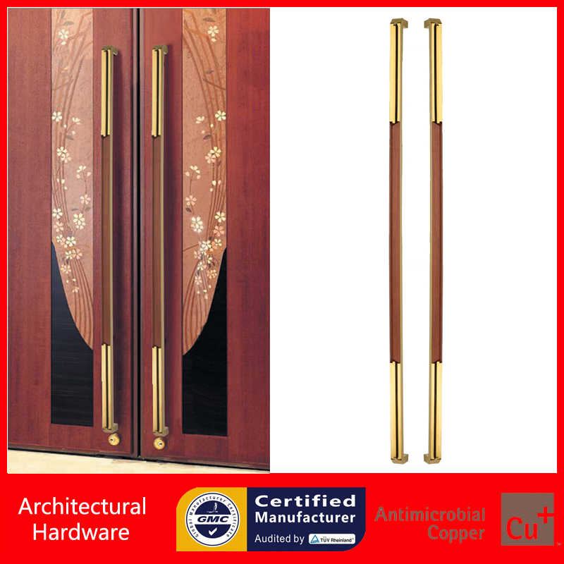 Golden Electroplated Entrance Pull Handle Made Of 304 Stainless Steel+Wood For Timber/Frame/Glass Doors PA-229-40*20*1500mm 304 stainless steel pull handle entrance door handles for entry front store glass timber metal frame doors pa 190