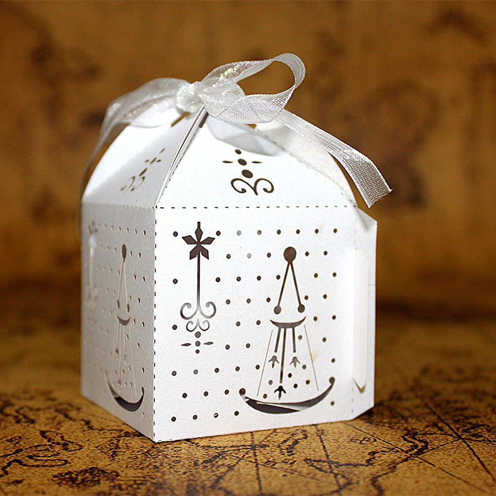 50pcs Hollow Out Navy Fashion Pattern Candy Boxes Gift Bags Wedding ...