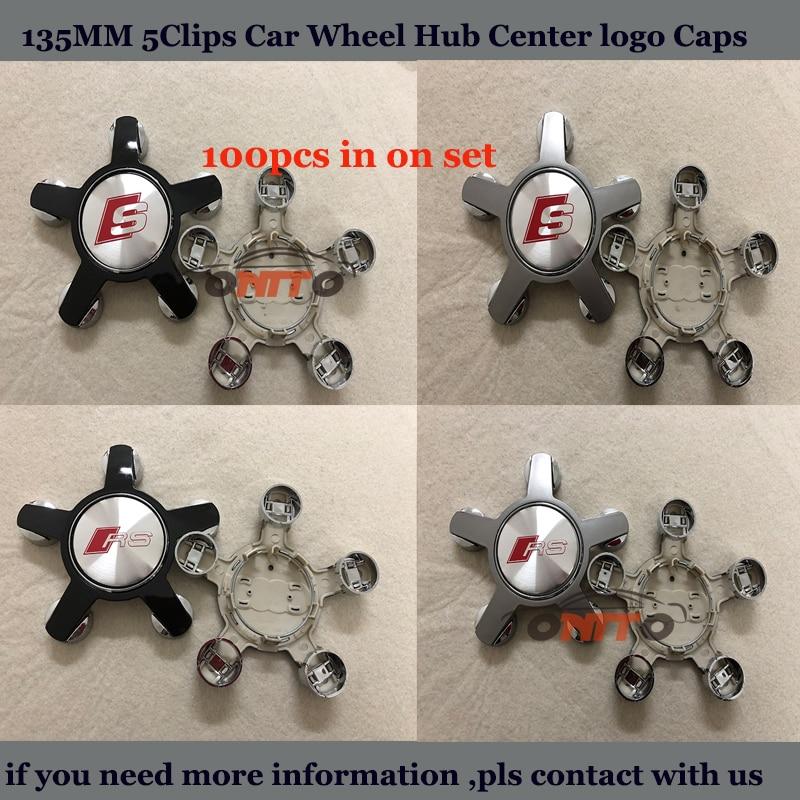 100pcs/set Car emblem logo badge For Audi 135mm 5Clip ABS Covers label Car Wheel hub center Caps Rims Stickers Wholesale