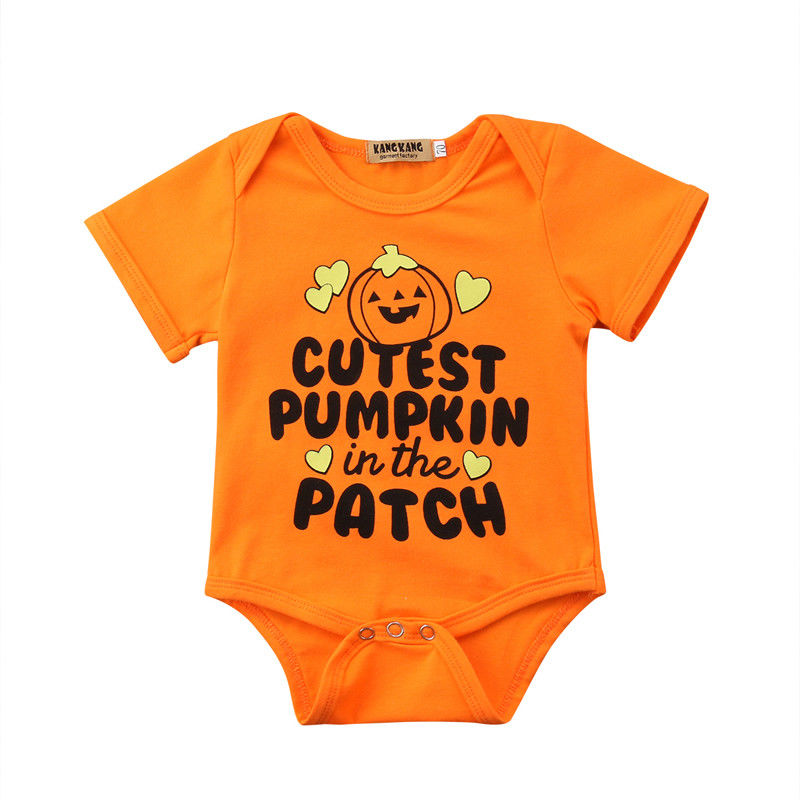 Objective Newborn Baby Boy Girl Short Sleeve Bodysuit Halloween Pumpkin Clothes Outfit Costume Holiday Baby Clothing