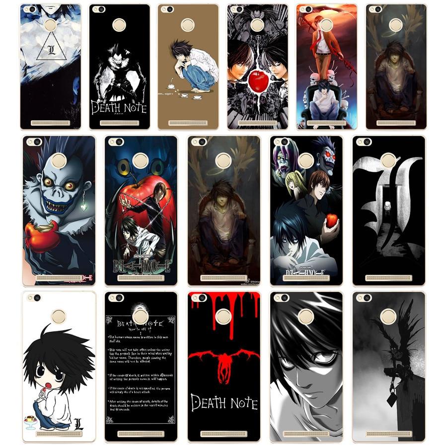 15DF Anime Death Note design Hard Transparent  Cover Case for Xiaomi Redmi 3S 3Pro 4a 5 plus Note 4 4x 5a 4pro Mi5 mi a1