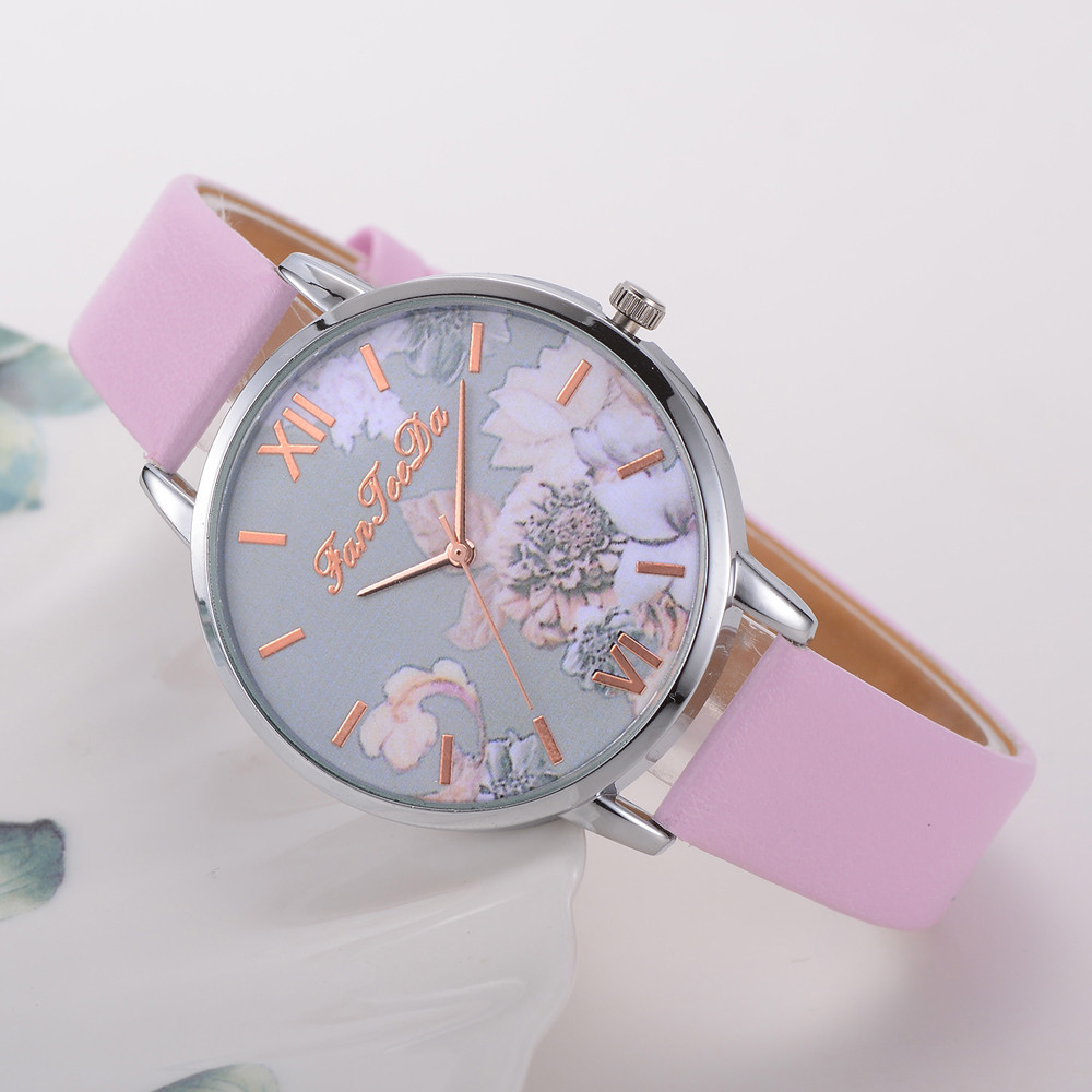 FanTeeDa luxury brand Fashion Women's Watch Printed Flower Causal Quartz Analog Wrist Watches relogio feminino Women Clock B30