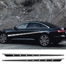2 adet uzun şerit araba çıkartmaları Audi BMW Ford Volkswagen Toyota Peugeot oto vinil çıkartmaları evrensel araba Tuning aksesuarları
