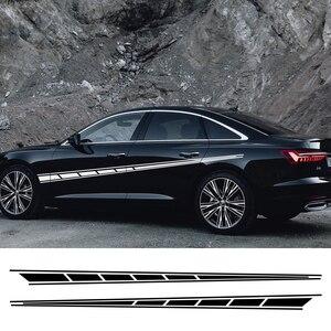 Image 1 - 2 adet uzun şerit araba çıkartmaları Audi BMW Ford Volkswagen Toyota Peugeot oto vinil çıkartmaları evrensel araba Tuning aksesuarları