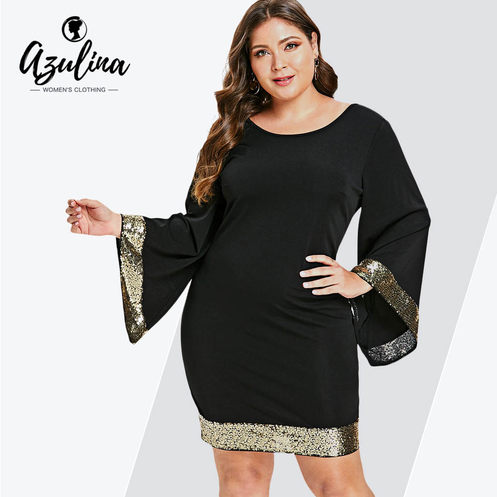 9ffda7306b1 AZULINA Plus Size Sequins Flare Sleeve Dress Women V Neck Long Sleeve  Bodycon Dress Female Office Party Work Dresses Vestido 5XL - Western  Garments