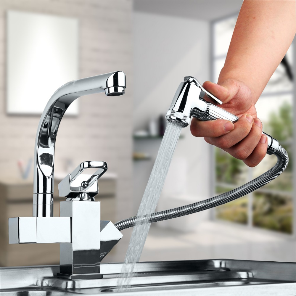 360 Swivel Dual Spout Kitchen Sink Faucet Pull Out Hand Spray One Hole Mixer Tap Single Handle Hot&Cold Water Faucets kitchen chrome plated brass faucet single handle pull out pull down sink mixer hot and cold tap modern design