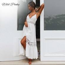 WildPinky Backless Spaghetti Strap Sexy Lace Dress Elegant 2019 Summer High Split White Women Maxi Long Vestidos