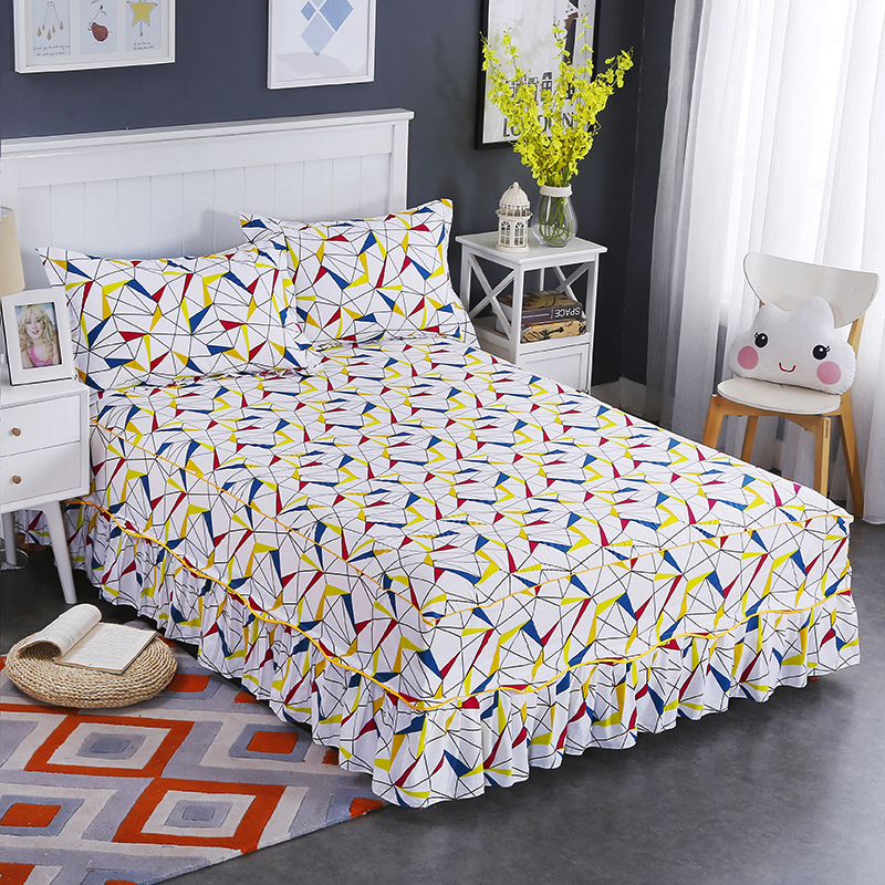 High Quality Fashion Hot And Comfortable Elegant Soft Bedding Set Colorful Bed Cover Cotton Bed Skirt With 2 Pillowcase