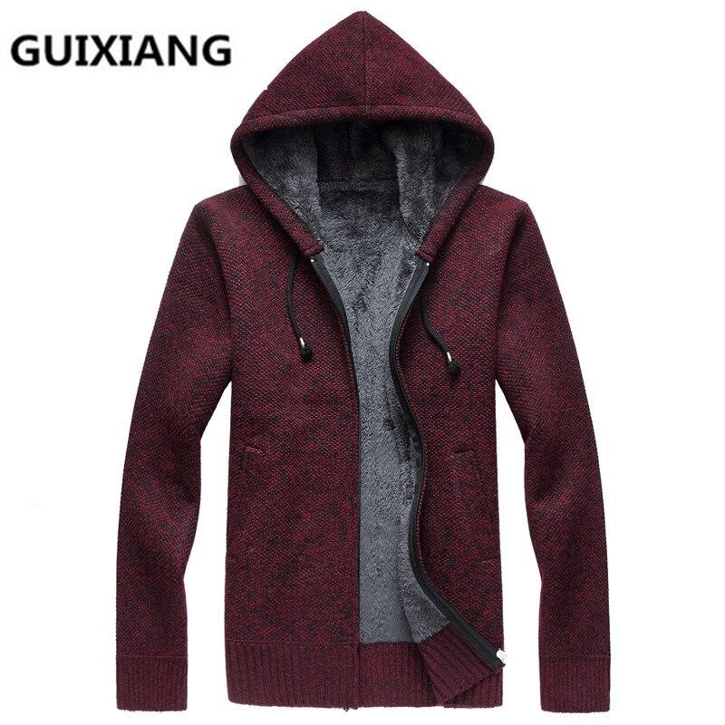 2017 automne de Haute qualité Hommes mode casual épaissir veste À Capuche Hommes de haute qualité à tricoter manteau vestes hommes plein taille M-3XL