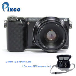 Pixco For Sony NEX camera Black 25mm f1.8 HD.MC Lens for Sony Nex Camera with LCS-BBF 3th Usual Waterproof Camera Protective Bag