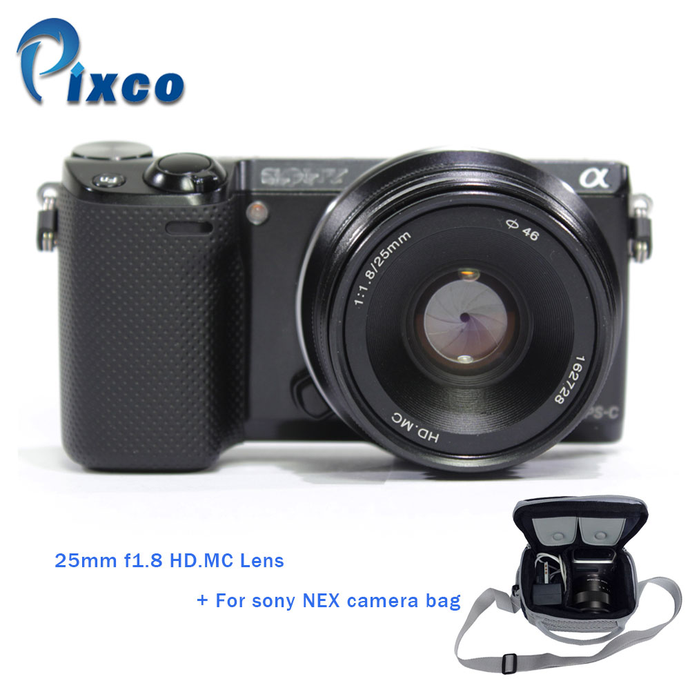 Pixco HD.MC Lens 25mm f1.8 for Sony Nex Camera with LCS-BBF 3th Usual Waterproof Camera Protective Bag For Sony NEX camera Black купить недорого в Москве