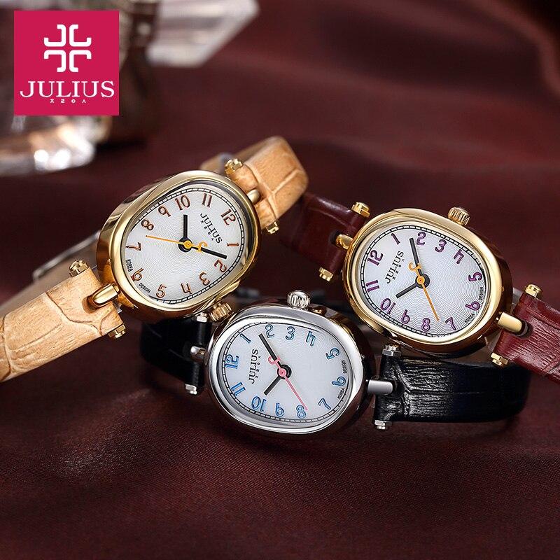 Top Julius Lady Women's Wrist Watch Cute Cobblestone Simple Fashion Hours Dress Bracelet Leather School Girl Birthday Gift 860