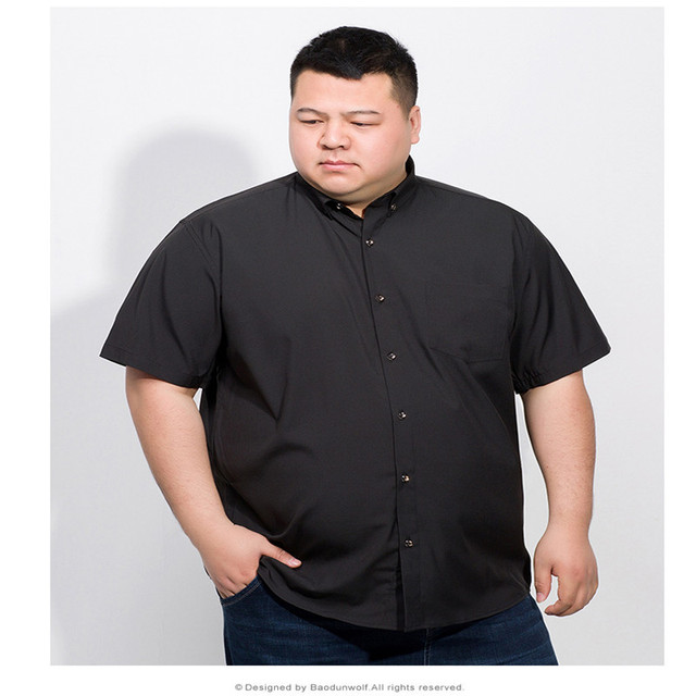 Plus 10XL 8XL 6XL 2018 Cotton Men Short Sleeve Solid Business Working Shirts Casual Shirt Oxford 3