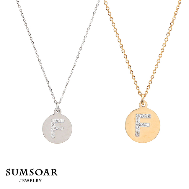Top sale stainless steel round gold tiny initial necklace disc f top sale stainless steel round gold tiny initial necklace disc f letter personalized charm pendant necklace mozeypictures Gallery
