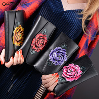 Qiaoduo women wallets large capacity long pattern woman purse peony flower multi function leisure wallet female clutch bags