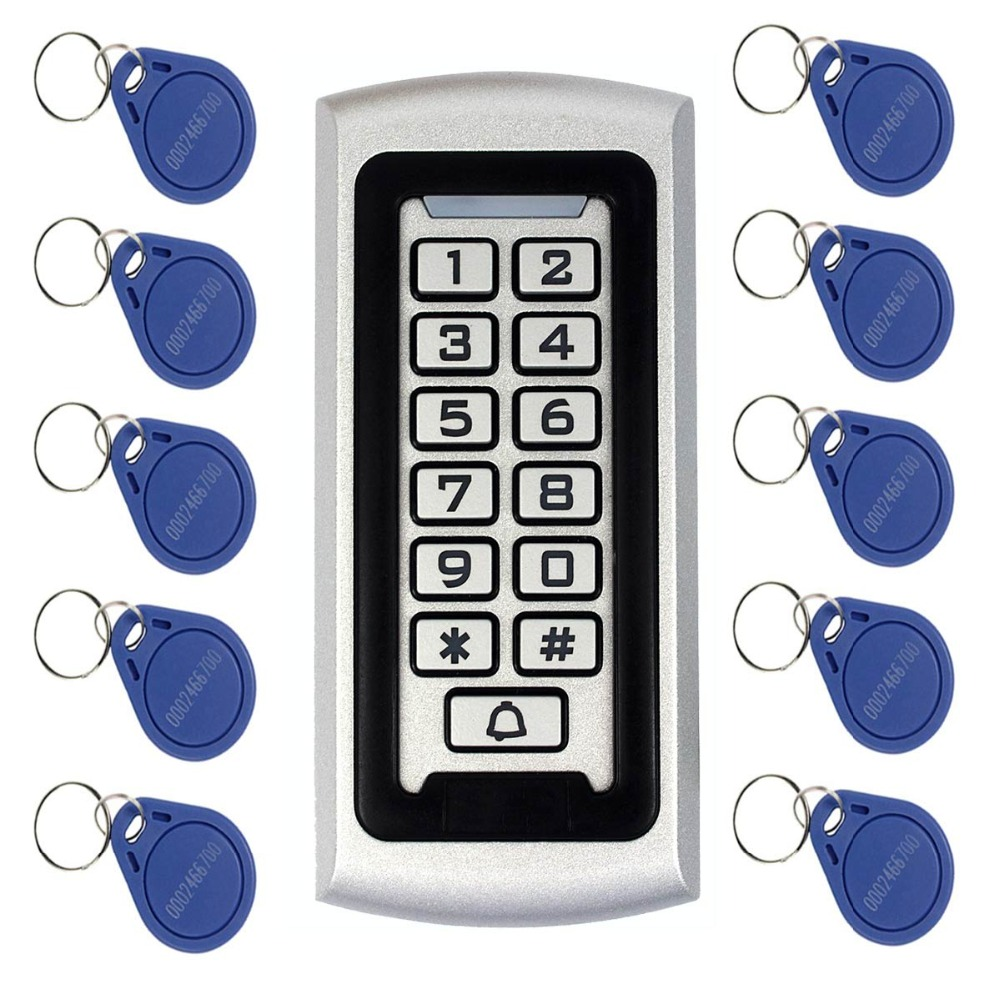 Keypad RFID Access Control System Proximity Card Standalone 2000 Users Door Access Control+10pcs RFID Cards F1212 rfid em card reader ip68 waterproof plastic standalone door lock access control system with keypad support 2000 card users