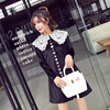 European High End Palace Noble Luxurious Aristocratic Loose Thin Vintage Black Velvet Dress French Elegance Female