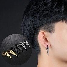 1Pair Fashion Personality Triangle Titanium Steel Earrings Men Boys Black Punk Rock Ear Studs V