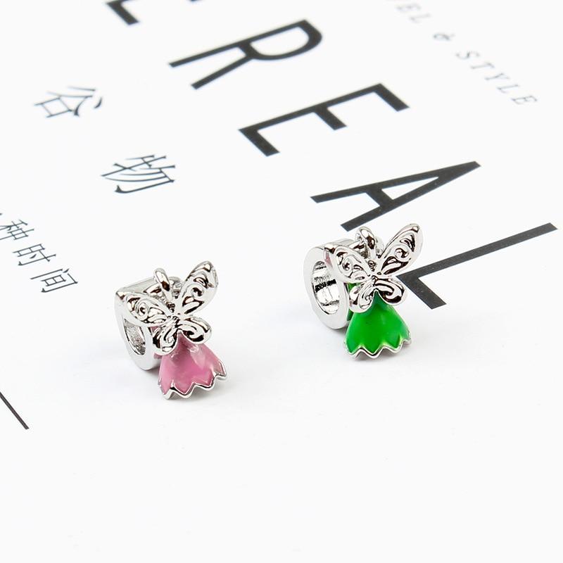 5PCS New Pink/Green Enamel Flower Wing Fairy Pendant Fit Pandora Bracelet Metal Charm DIY Bead Jewelry Making Pingente Berloque(China)