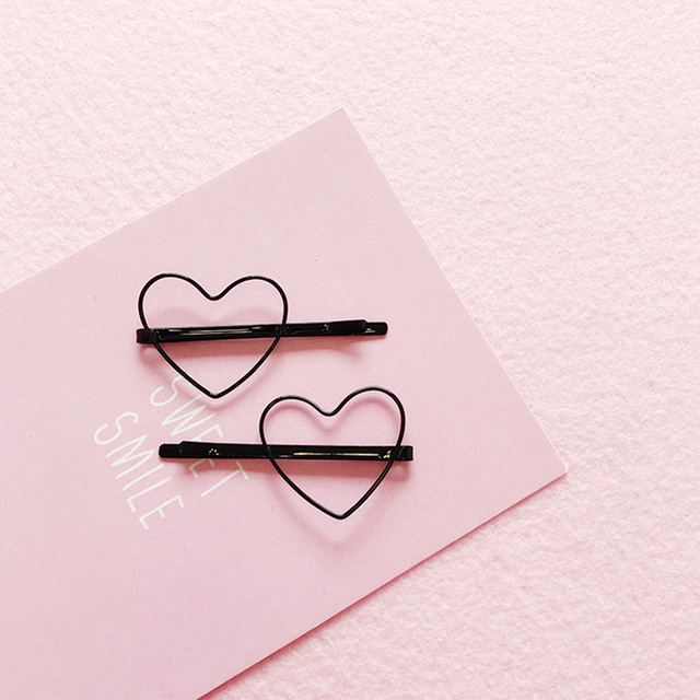 Kawaii Heart Patterned Metal Hair Clips