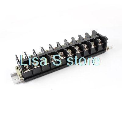600V 100A 2 Rows 10 Positions Covered Screw Terminal Barrier Block