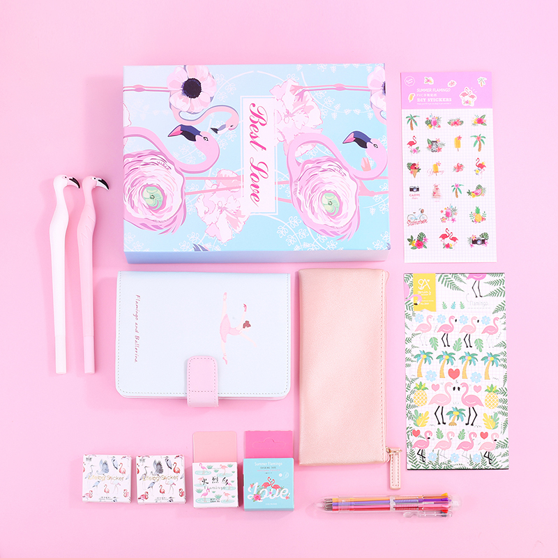 все цены на Cute A6 Notebook Stationery Set Gift Boxes Weekly Planner Leather Notepad Pencil Case Flamingo With Pen Sticker Washi Tape Set онлайн
