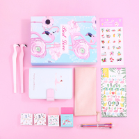 Cute A6 Notebook Stationery Set Gift Boxes Weekly Planner Leather Notepad Pencil Case Flamingo With Pen Sticker Washi Tape Set