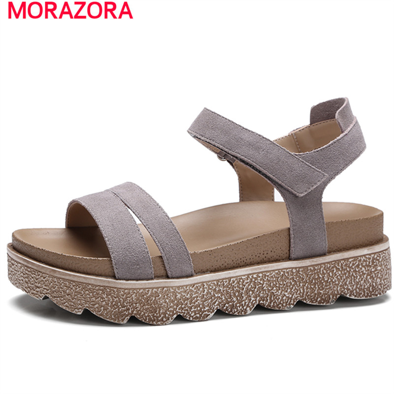MORAZORA Platform shoes woman cow suede high heels sandals women shoes solid portable gladiator summer shoes open-toed a06b 6102 h206 used in good condition