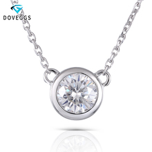 DovEggs Classic 14K 585 White Gold 0.5CT 5MM F Color Moissanite Penndant Necklace for Women Gift Solid