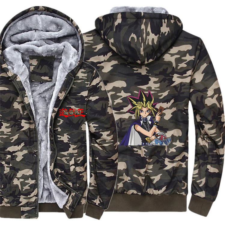 Anime Yu-Gi-Oh  Hoodie Winter Casual Super Warm Camouflage Coat Thicken Warm Zipper Hooded Casual Sweatshirts