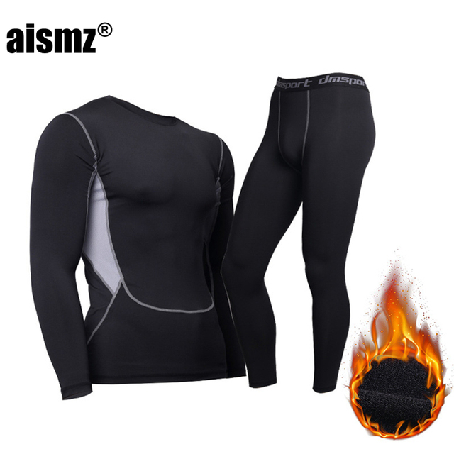 Aismz Thermal Underwear For Men Male Thermo Clothes Long Johns Sets Thermal Tights Winter Long Compression Underwear Quick Dry 2