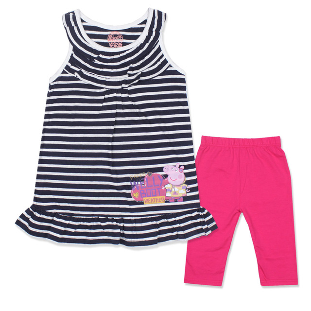 Brand Girls Clothes Black Striped Dresses Kid Children's Sets Girls Pig Striped Sleeveless Dress Pants Cartoon Summer Sets Girls
