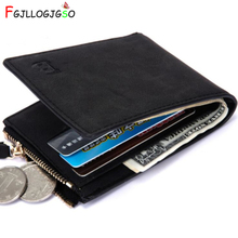 FGJLLOGJGSO Men Wallets Short Coin Purse Small Fashion High Quality Designer Black Brown ID Credit Card Holder Purse Male Wallet