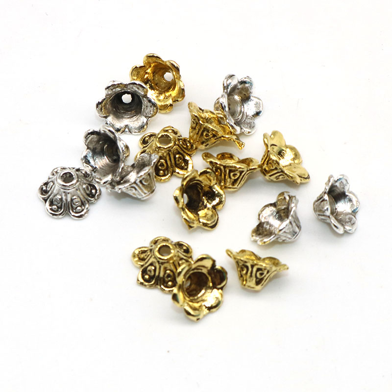 1000pcs Tibetan Alloy Flower Bead Caps 4-Petal Nickel Free Findings Beading 6mm