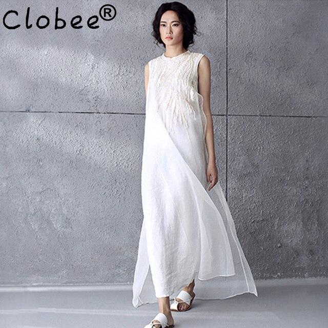 Women Dress Plus Size Xl Linen Cotton Chiffon Maxi Dress Solid Color