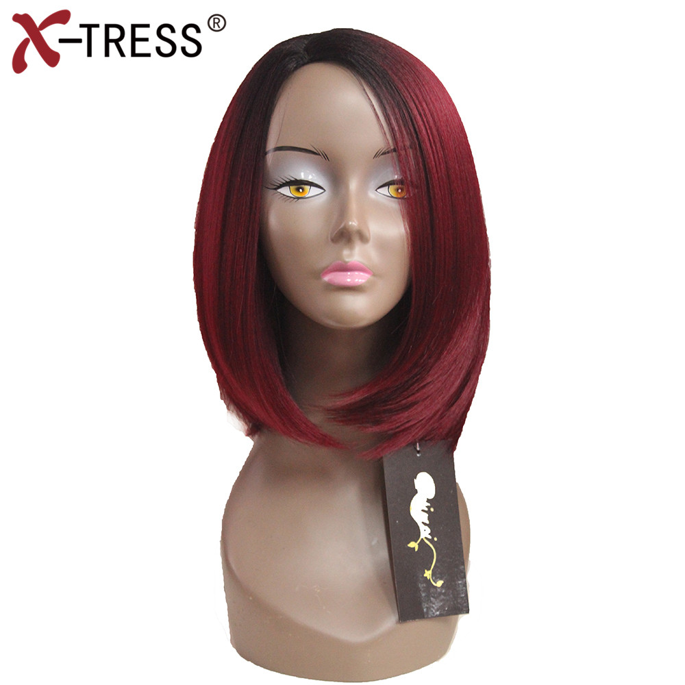 X-TRESS Short Straight Bob Wigs Side Part For Black Woman 4 Colors Synthetic Wigs Kanekalon Heat Resistant Redwine Women Wigs