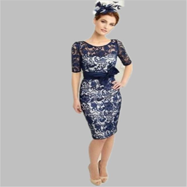 O envio gratuito de New Navy Blue Satin Lace Bainha Na Altura Do Joelho colher Mãe dos Vestidos de Noiva Com Jaqueta Plus Size 2015