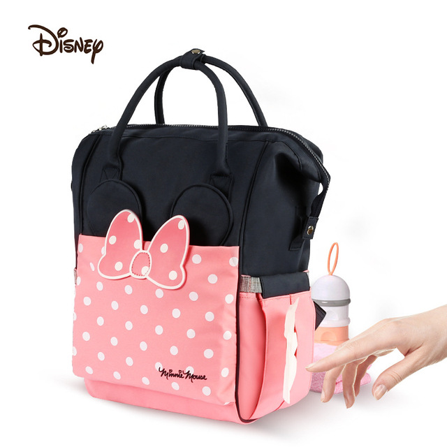 Disney Baby cartoon Minnie Bag Mommy Stroller mom Feeding Diaper backbag Care biberon Insulation Travel Bag 20-35L Wet nappy bag