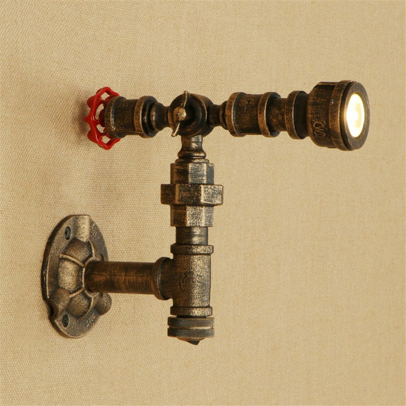 Loft Industrial LED Wall Light Fixtures Vintage Valve Iron Rotate Water Pipe Wall Lamp Bedside Sconce Lighting Lampara ParedLoft Industrial LED Wall Light Fixtures Vintage Valve Iron Rotate Water Pipe Wall Lamp Bedside Sconce Lighting Lampara Pared
