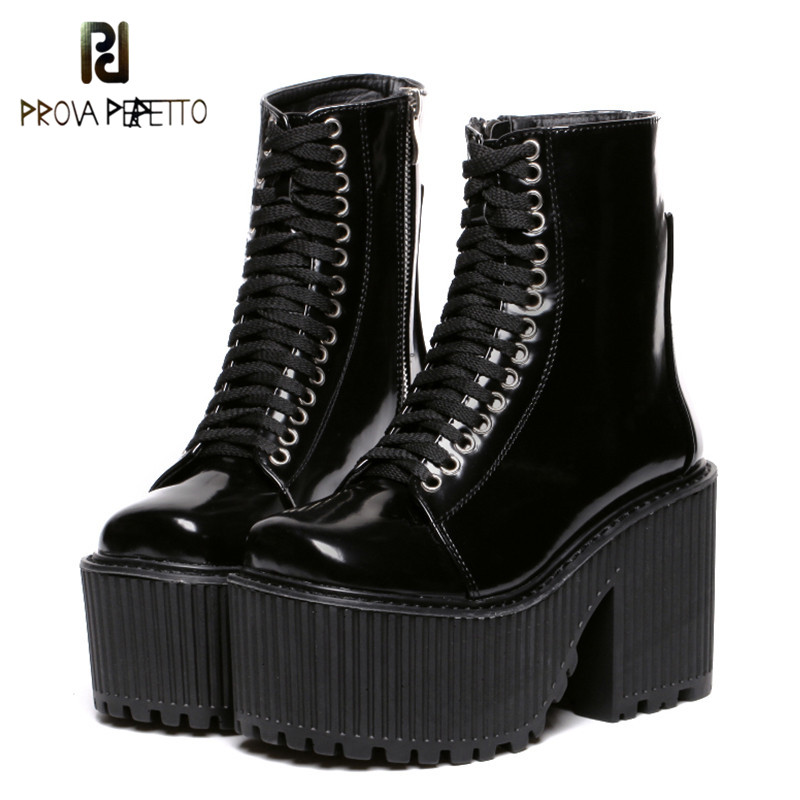 Prova perfetto Fashion Ankle Boots Women Platform Shoes Punk Gothic Style Rubber Sole Lace Up Black