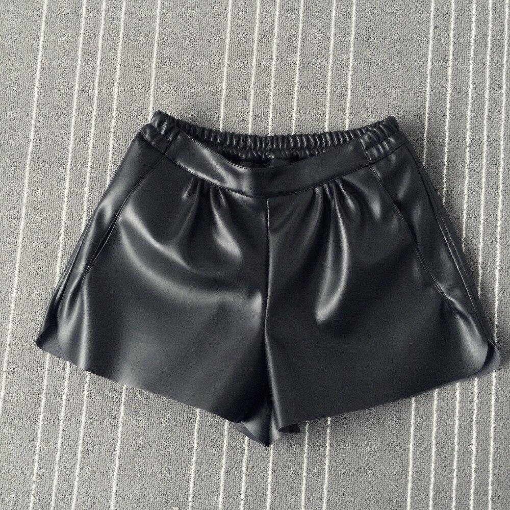 2016 New Summer Women Elastic Waist PU leather Black Shorts Female Celebrity same Loose Fashion Women