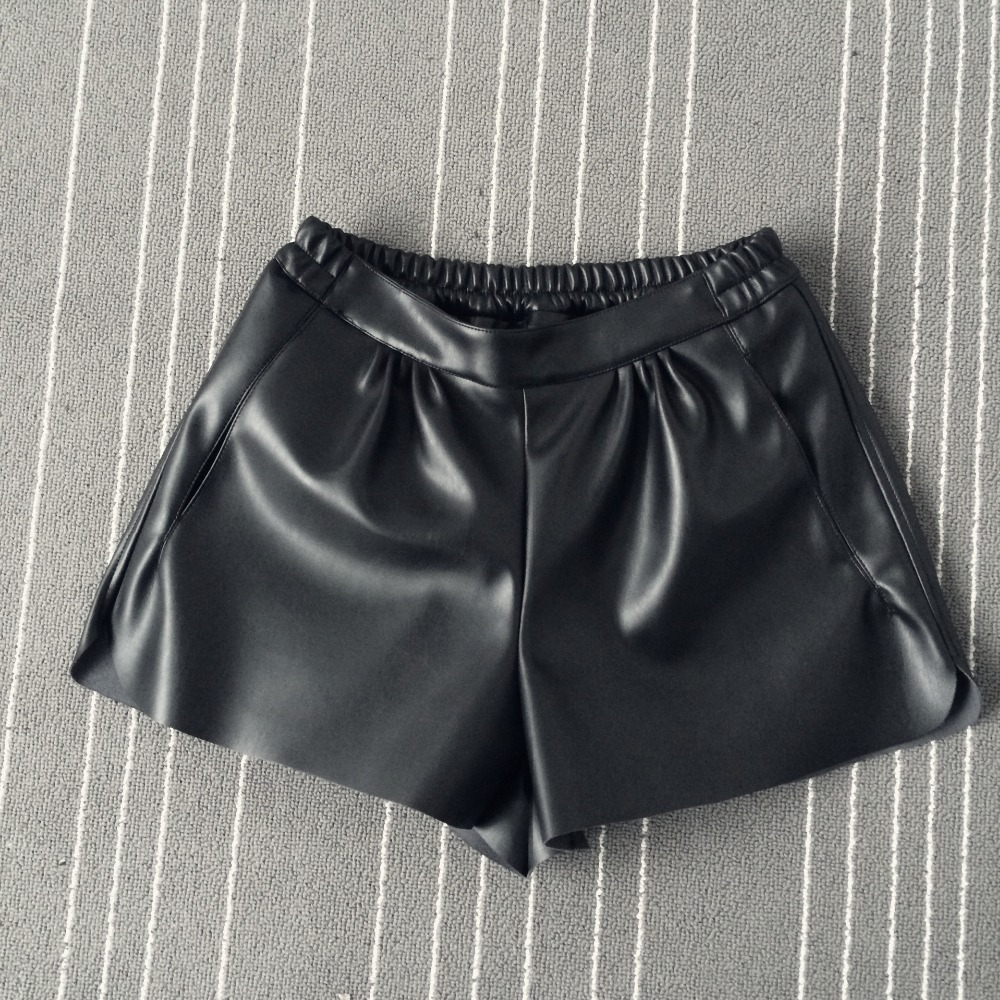 2016 New Summer Women Elastic Waist PU leather Black Shorts Female Celebrity same Loose Fashion Women Casual Shorts