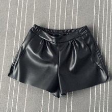 Elastic Waist PU leather Black Shorts