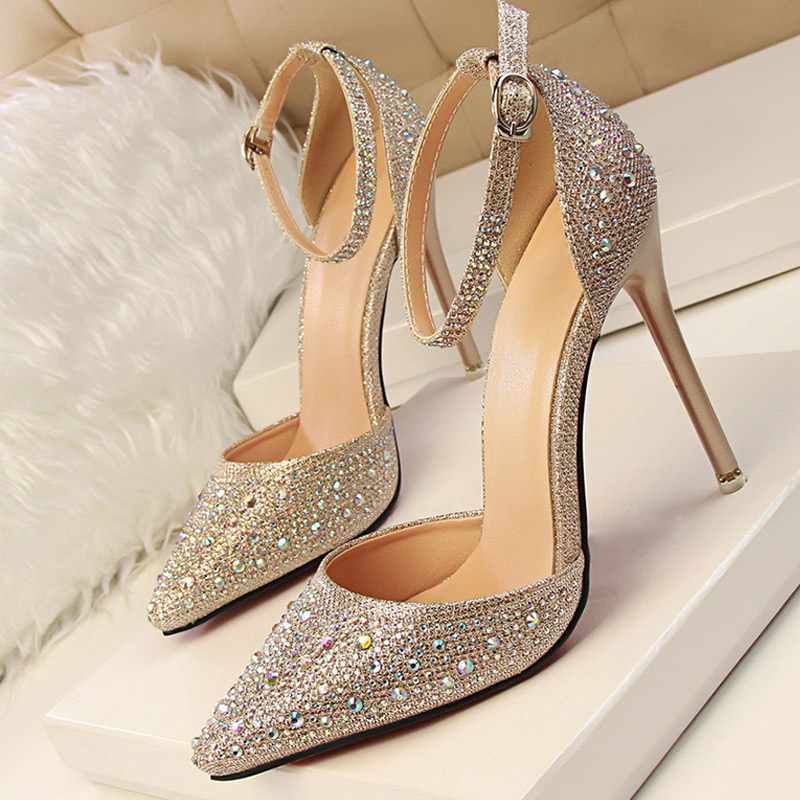 Women Pumps Bling Sequin Women Heels Shoes Female Fashion High Heels Ankle Strap Crystal Pumps Shoes Woman Stiletto 305-3