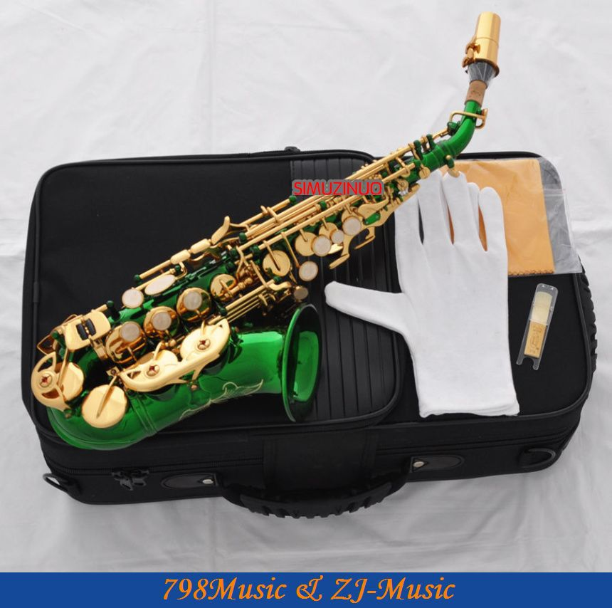Зеленый/золотой изогнутый саксофон сопрано Sax Bb key High F Новый чехол