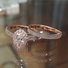 Huitan, классическое кольцо в виде солитера, капля воды, 2 шт., кольцо с микро-покрытием, элегантное свадебное кольцо, кольцо на годовщину свадьбы, кольцо для женщин