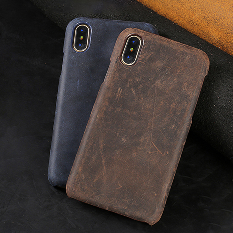Retro Luxury Genuine PULL-UP Leather Phone Case for iPhone X XS 11 Pro Max 12 Mini XR XS Max 6 6s 5 SE 7 Plus 8 Plus Back Cover